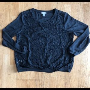 LOFT black lace-front, long sleeved blouse